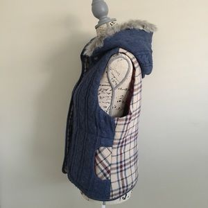 BB Dakota Jackets & Coats - Blue Sweater and Plaid Flannel Vest with Fur Hood
